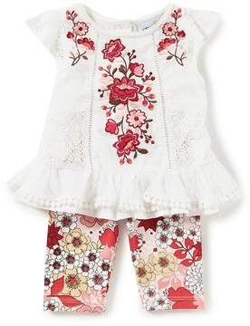 Rare Editions Baby Girls Newborn-24 Months Floral-Embroidered Lace Top & Floral Leggings Set