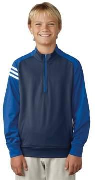 adidas 2017 Boy's 3 Stripe Layering Jacket (Dark Slate/Blast Blue - S)