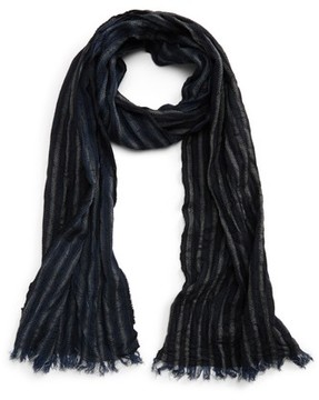 John Varvatos Men's Crinkle Stripe Wool Scarf