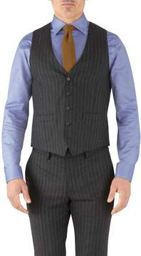 Charles Tyrwhitt Charcoal Stripe Adjustable Fit Flannel Business Suit Wool Vest Size w40