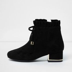 River Island Girls black ruffle top block heel ankle boots