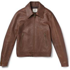 Kent & Curwen Kapore Full-Grain Leather Bomber Jacket
