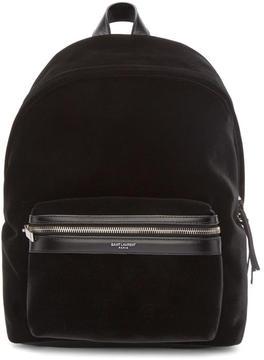 Saint Laurent Black Velvet Mini City Backpack