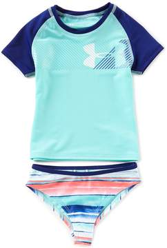 Under Armour Baby Girls 12-24 Months Hybrid Big Logo Rashgaurd Top and Stripe Bottom Swimsuit