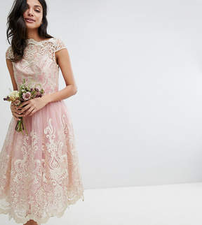 Bardot Chi Chi London Tall Premium Lace Midi Prom Dress with Neck