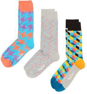 Happy Socks Men's Pixels & Geometric Print Socks (3 PK) - Size 10-13