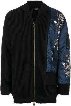 No.21 floral embroidery long bomber jacket