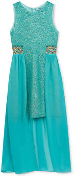 Rare Editions Embellished-Waist Overskirt Maxi Dress, Big Girls