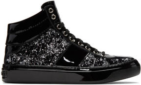 Jimmy Choo Black and Silver Velvet Belgravia High-Top Sneakers