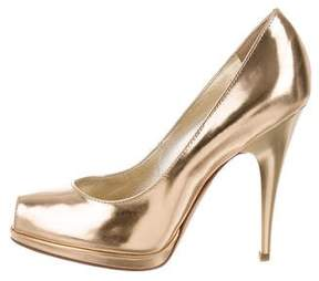 Roberto Cavalli Metallic Peep-Toe Pumps