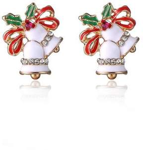Alpha A A Christmas Gold Tone Holiday Bell Earrings