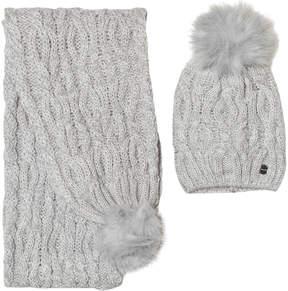 Mayoral Grey Chunky Knit Pom Pom Hat and Pom Pom Scarf Set