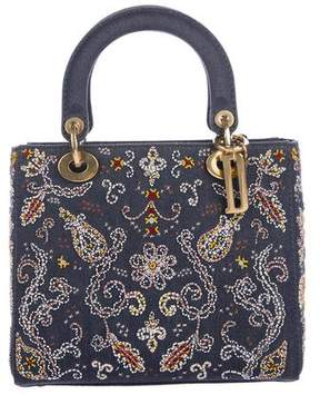 Christian Dior 2018 Embroidered Denim Medium Lady Bag w/Strap