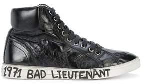Saint Laurent Men's Black Leather Hi Top Sneakers.