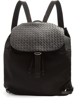 Bottega Veneta Canvas and intrecciato leather backpack