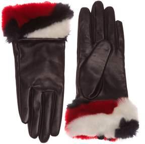 Tommy Hilfiger Striped Fur Gloves