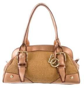 Dolce & Gabbana Leather-Trimmed Straw Shoulder Bag