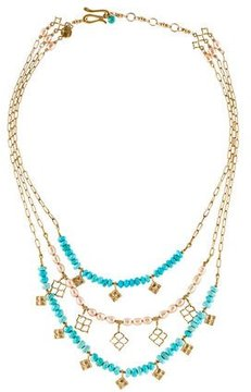 Elizabeth Showers Pearl & Turquoise Multistrand Necklace