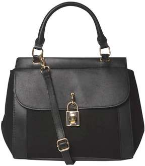 Black Top Handle Lock Tote Bag