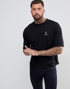 Religion Boxy Fit T-Shirt With Dropped Shoulder In Black