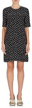 Marni Women's Crinkled Feather-Print Crepe Dress