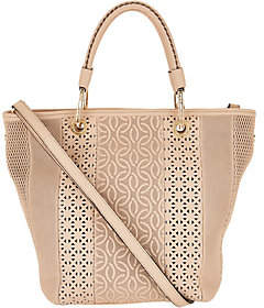 Plinio Visona PLINIO VISONA' Italian Leather Laser Cut Shopper