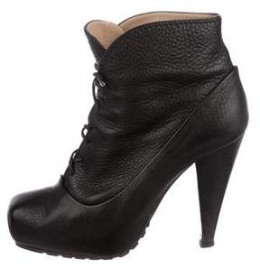 Proenza Schouler Leather Square-Toe Ankle Boots