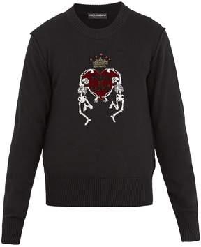 Dolce & Gabbana Skeleton-embellished wool sweater