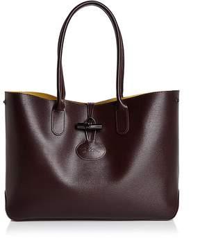 Longchamp Roseau Leather Tote - AUBERGINE PURPLE/SILVER - STYLE