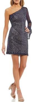 Teeze Me One Sleeve Sequin-Patterned Sheath Dress