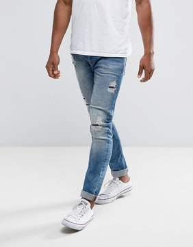 ONLY & SONS Slim Fit Jeans With Rip Repair Bleach Wash