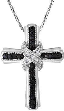 Black Diamond FINE JEWELRY 1/10 CT. T.W. White and Color-Enhanced Cross Pendant Necklace