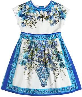 Dolce & Gabbana Maiolica Cotton Poplin & Jersey Dress