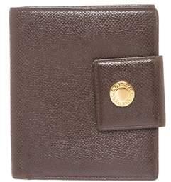 Bvlgari Brown Leather Snap Closure Small Wallet.