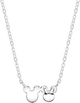 Disney Sterling Silver Mickey & Minnie Mouse Necklace with 18-inch Cable Chain