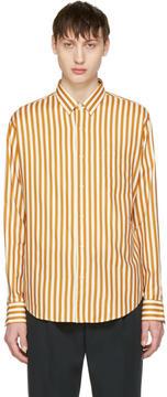 Ami Alexandre Mattiussi Orange and Ecru Striped Shirt