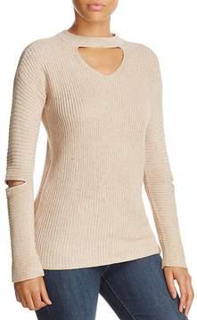 Design History Zip Elbow Choker Sweater
