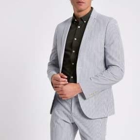 River Island Mens Blue stripe skinny fit blazer