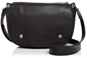Longchamp Le Foulonne Leather Saddle Bag - BLACK/SILVER - STYLE