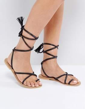 Asos FALIA Leather Tie Leg Flat Sandals
