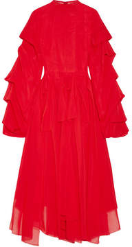 Awake Octopus Passion Ruffled Cotton-voile Midi Dress - Red