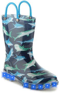 Western Chief Boys Shark Infested Toddler & Youth Light-Up Rain Boot
