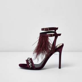 River Island Womens Dark red feather embellished sandals
