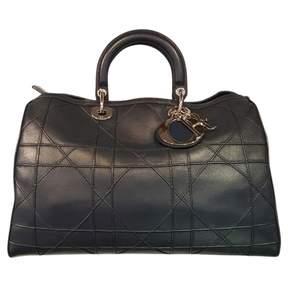 Christian Dior Lady Black Leather Handbag