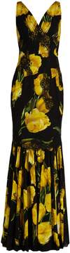 Dolce & Gabbana Lace-trimmed tulip-print silk-blend gown