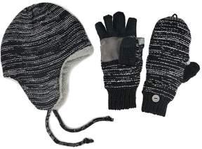 Muk Luks Side-Marled Trapper Hat & Mittens - Men