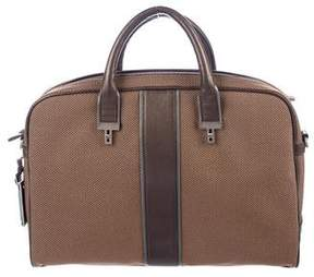 Tumi Canvas Leather-Trimmed Briefcase