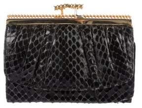 Judith Leiber Snakeskin Compact Wallet