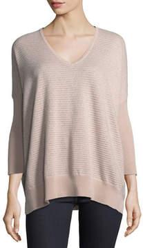 Neiman Marcus Metallic Mini-Stripe Cashmere-Blend Dolman Sweater