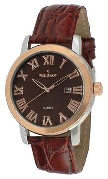 Peugeot Watches Men's Round Leather Strap Calendar Watch - Brown